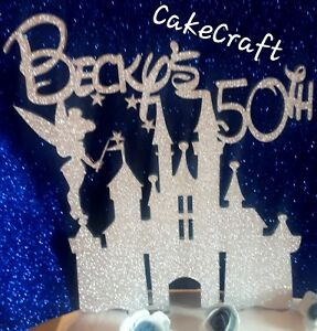 Glitter Personalized Disney princess,tinkerbell castle  cake topper decorations