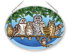 "Owl Night Watch Sun Catcher AMIA Hand Painted Large Oval 9"" x 6.5"" Owls New"