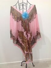PEACH PAISLEY KAFTAN CAFTAN RESORT CASUAL LOOSE BOHEMIAN BATWING TOP