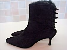Jimmy Choo Black Suede Open Back Fur Trim Pointed Toe Ankle Boots Bootie 39.5