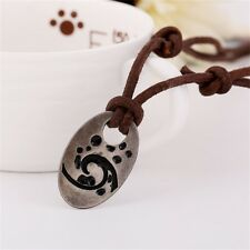 Men's Vintage Handmade Long Cowhide Necklace Alloy Pendant Charm Collar Jewelry