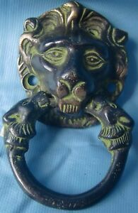 Solid brass metal door knocker vintage small hand crafted lions head decor