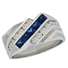 1.60ctw Princess Midnight Blue Sapphire Men's Ring 14K White Gold