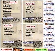 SET 10 ANELLI DI TRAZIONE-ADERENZA 154 per RUOTE da mm.10 a mm.12 SCALA-N ed HO
