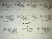 Gravure ORNEMENTATION STYLE NEOCLASSIQUE DECORATION MOBILIER BRONZE LYON 1838 f