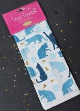 Milly Verde Gato Y Mouse Diseño 100% algodón toalla de té Cocina felina Azul MG0991