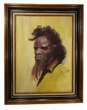 Australian Indigenous Elder Aboriginal Man Framed Oil Painting 49 x 39 cm