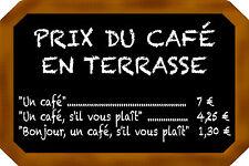 PLAQUE en ALU PRIX du CAFÉ MODIFIABLE ÉQUIPEMENT BAR BISTROT 20X30