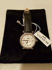New COACH Madison Womens Silver Dial Crystals Fashion Black Leather Band Watch