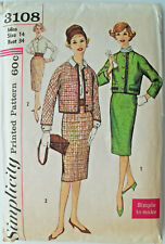 "34"" Vintage 1960s Pencil Skirt Jacket Blouse Sewing Pattern Simplicity 3108"