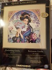 """Dimensions Gold Collection Enchanting Geisha 12""""x12"""" Preowned but INTACT"""