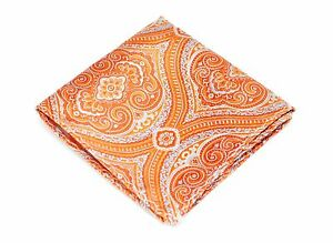 Lord R Colton Masterworks Pocket Square - Orange Tapestry Silk - $75 Retail New