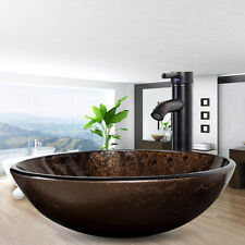 Bathroom Artistic Tempered Glass Vessel Sink ORB Faucet Pop Up Drain Round  Combo