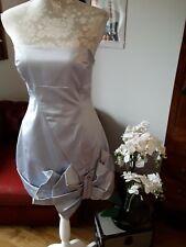 Karen Millen light blue silver satin bow strapless ruffle dress UK 12