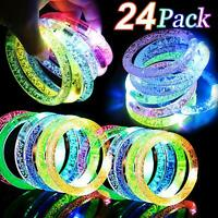 24 Pack Glow In The Dark LED Bracelets Party Favors Flashing Light Up Bracelets