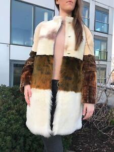 Natural Handmade Sheepskin Fur Coat Size 8 - 10