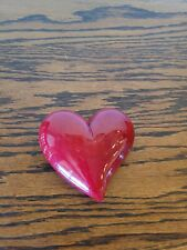 Genuine Volterra Alabaster Hand Carved Red Heart Paperweight by Ducceschi Italy