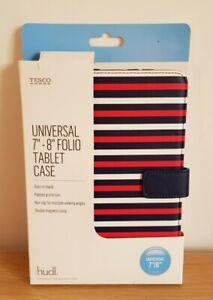 "Universal 7""-8"" Folio Tablet Case Red White Blue Stripe from Tesco, Hudl, NEW"