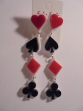 PLAYING CARDS SYMBOLS PIERCED EARRINGS 3""