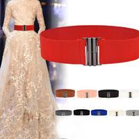 Womens Lady Fashion Elastic Cinch Belt Wide Stretch Waist Band Clasp Buckle F GT