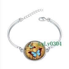 Blue Butterflies glass cabochon Tibet silver bangle bracelets wholesale