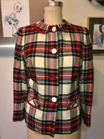 VTG 50'S ED BEHAN'S TWEED SHOP*CUTE!! WOOL RED GREEN PAID TARTAN CHECK JACKET*S