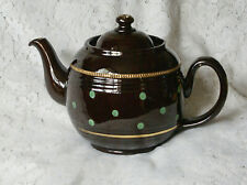1950/60s 2 1/4 Pt Mint Green Polka Dot Gilt Brown Betty Alcock Lindley & Bloore