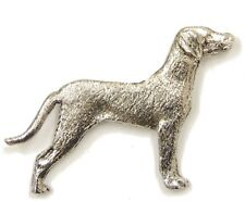 Weimaraner (with tail) Brooch, Silver Plated