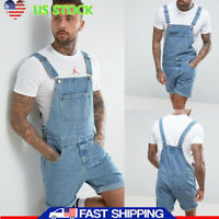 Men Cowboy Shorts Denim Jeans Jumpsuit Overalls Dungarees Trousers Holiday Pants