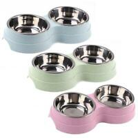 Dog Double Bowl Puppy Food Water Feeder Stainless Steel Pets Drinking Dish TN2F