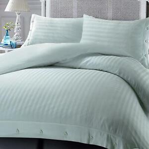 100% LUXURY HOTEL QUALITY EGYPTIAN COTTON STRIPE SATIN DUVET COVER FITTED SHEET