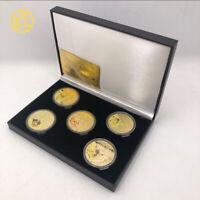 5type Pokemon Pikachu Coin Japan Anime Gold Commemorative Coin in balck gift box