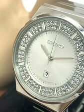 Seiko SXDF71 Women's Watch Swarovski Crystals Silver Tone Stainless Steel Quartz