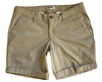Old Navy Shorts Khaki Womens Size Large L 10 Casual Stretch Flat Front Cuffed