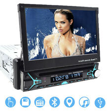 "Single 1 DIN 7"" HD Flip Up GPS Navigation Car Stereo CD DVD MP3 Player Radio BT"