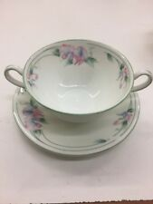 5 Aynsley China Little Sweetheart Flat Cream Soup Bowl Saucer Set Floral Pastel