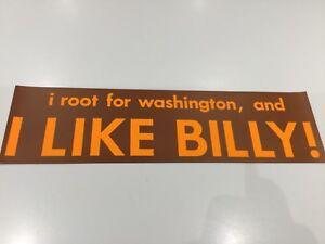 "Washington Football ""I LIKE BILLY"" bumper sticker(1) original 1971 (Redskins)"