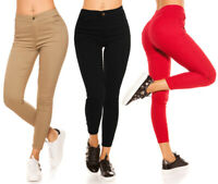 donna pantaloni skinny elasticizzati slim leggings thermo colorati aderenti