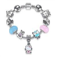 Hello Kitty Bracelet Crystal Beads Charm bracelets & bangles Jewelry-FREE SHIP