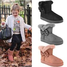 Girls Kids Childrens Flat Winter Faux Fur Ankle Boots Warm Snow Thick Sole
