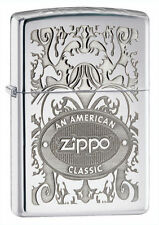 Zippo 24751, An American Classic, HP Chrome Lighter, **6 Extra Flints & Wick**