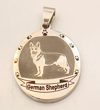 German Shepherd Necklace Stainless Steel Dog Breed Paw Print Oval Pendant