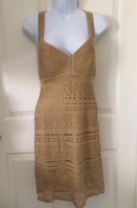GUESS Los Angeles Sz S Gold/Tan NWOT Bodycon Lined Crochet Dress