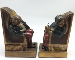 Armor Bronze Old Man and Woman Sitting Bookends