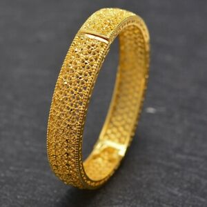 Gold Bangle Handmade 18K Gold Plt Dubai Indian Open Bracelet Design Safety Lock