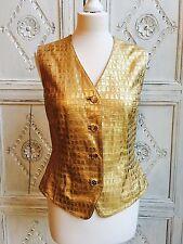 Vintage Escada Leather Waistcoat Vest Rare Gold 1980s - Size 10-12