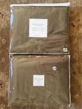 "Restoration Hardware Brushed Belgian Linen Cotton Drapery 100x120"" Mocha ROD PKT"