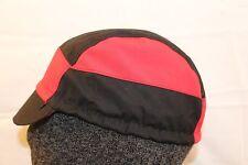 CYCLING CAP 7 PANELS BLACK&RED 100% COTTON HANDMADE
