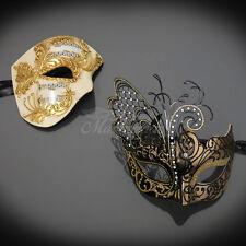 Couples Masquerade Mask, Gold Masquerade Ball Mask Couple M2601A, M331BG