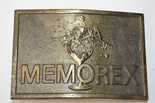 Vintage MEMOREX Logo Broken Glass Musician Solid Brass Tone Belt Buckle HEAVY